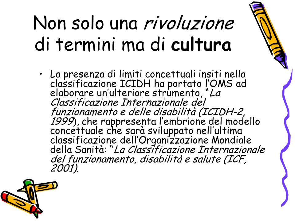 Non solo una rivoluzione di termini ma di cultura La presenza di limiti concettuali insiti nella classificazione ICIDH ha portato lOMS ad elaborare un