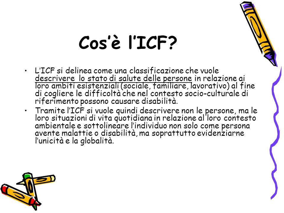 Cosè lICF? LICF si delinea come una classificazione che vuole descrivere lo stato di salute delle persone in relazione ai loro ambiti esistenziali (so