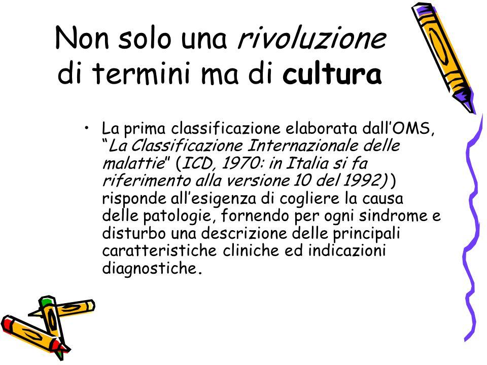 Non solo una rivoluzione di termini ma di cultura La prima classificazione elaborata dallOMS,La Classificazione Internazionale delle malattie (ICD, 19