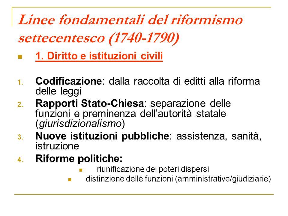 Linee fondamentali del riformismo settecentesco (1740-1790) 1. Diritto e istituzioni civili 1. Codificazione: dalla raccolta di editti alla riforma de
