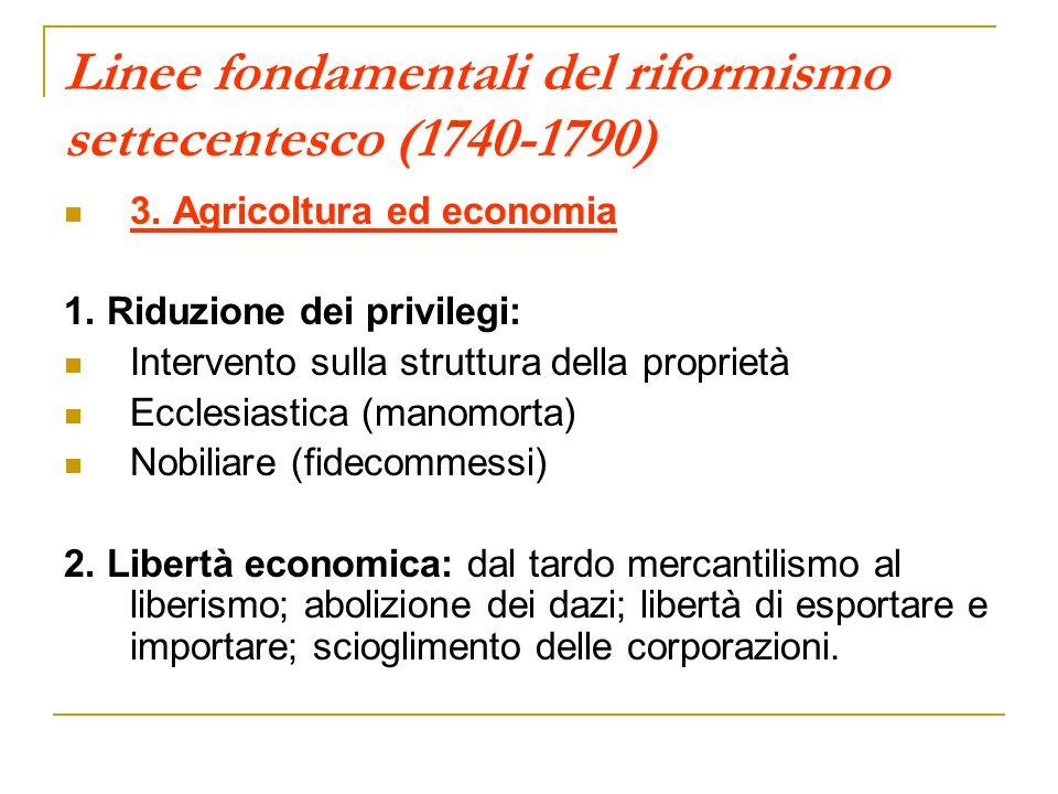 Linee fondamentali del riformismo settecentesco (1740-1790) 3. Agricoltura ed economia 1. Riduzione dei privilegi: Intervento sulla struttura della pr