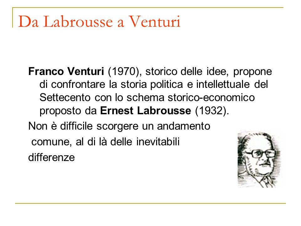 Da Labrousse a Venturi Franco Venturi (1970), storico delle idee, propone di confrontare la storia politica e intellettuale del Settecento con lo sche