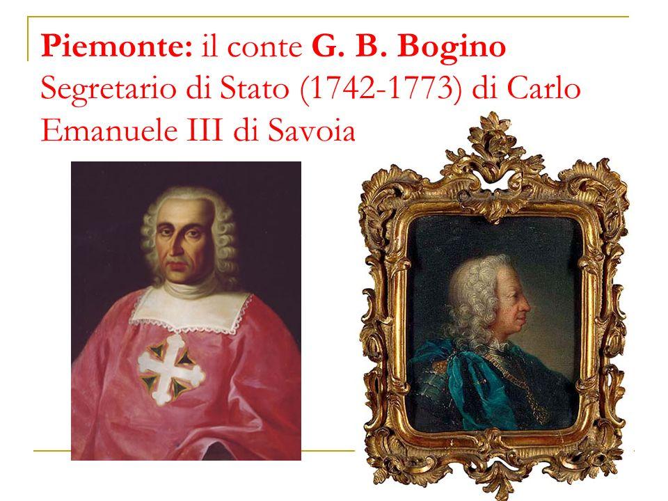 Piemonte: il conte G. B. Bogino Segretario di Stato (1742-1773) di Carlo Emanuele III di Savoia