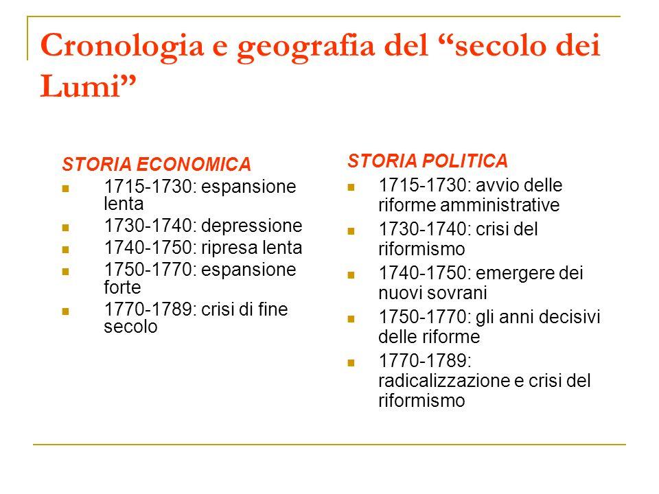 Linee fondamentali del riformismo settecentesco (1740-1790) 1.
