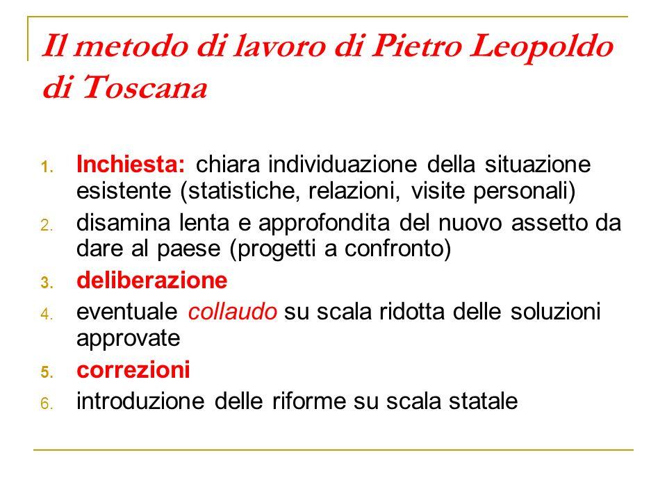 Il metodo di lavoro di Pietro Leopoldo di Toscana 1. Inchiesta: chiara individuazione della situazione esistente (statistiche, relazioni, visite perso