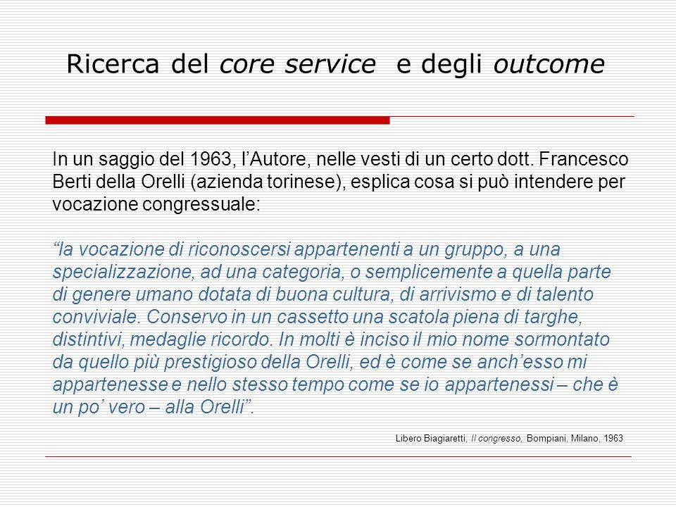 Ricerca del core service e degli outcome In un saggio del 1963, lAutore, nelle vesti di un certo dott. Francesco Berti della Orelli (azienda torinese)