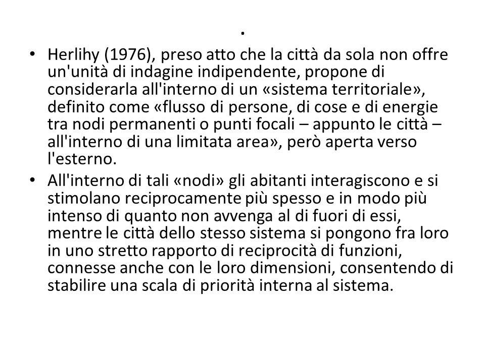 . Herlihy (1976), preso atto che la città da sola non offre un'unità di indagine indipendente, propone di considerarla all'interno di un «sistema terr