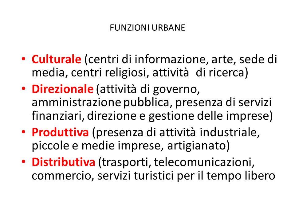 FUNZIONI URBANE Culturale (centri di informazione, arte, sede di media, centri religiosi, attività di ricerca) Direzionale (attività di governo, ammin