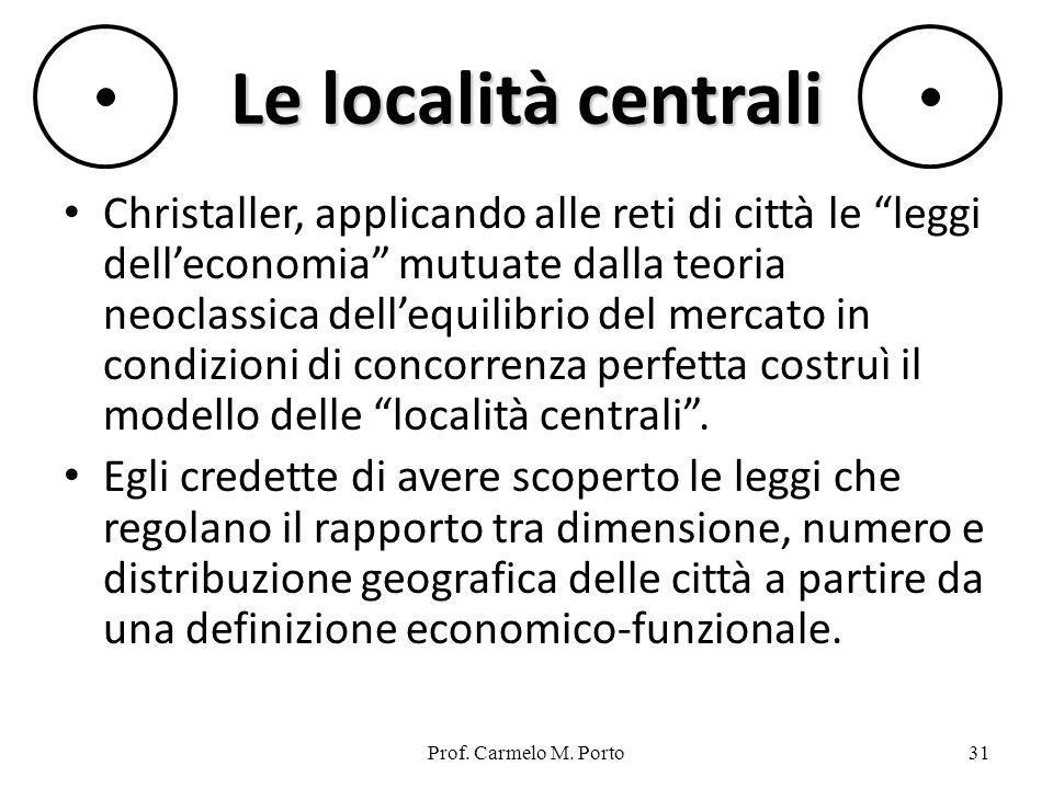 Prof. Carmelo M. Porto31 Le località centrali Christaller, applicando alle reti di città le leggi delleconomia mutuate dalla teoria neoclassica delleq