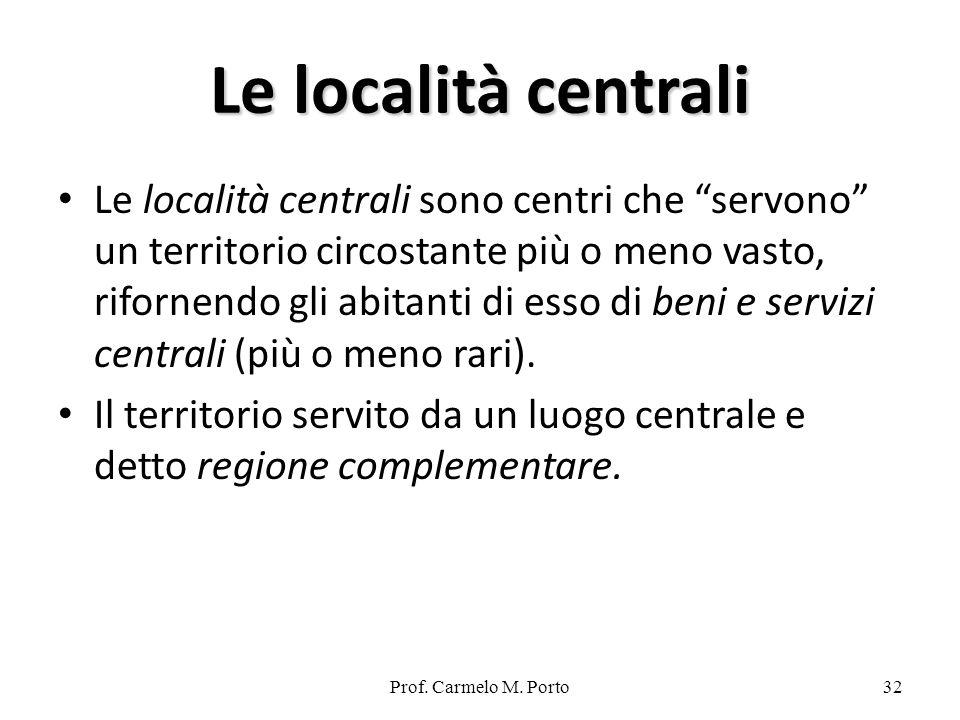 Prof. Carmelo M. Porto32 Le località centrali Le località centrali sono centri che servono un territorio circostante più o meno vasto, rifornendo gli