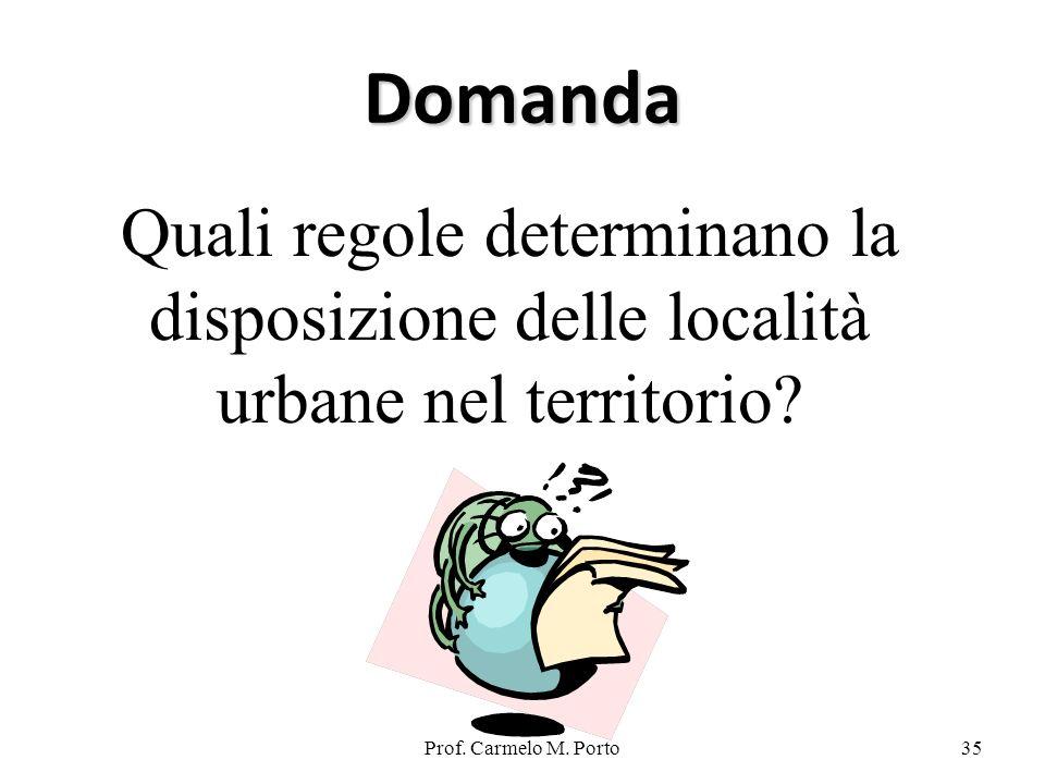 Prof. Carmelo M. Porto35 Domanda Quali regole determinano la disposizione delle località urbane nel territorio?