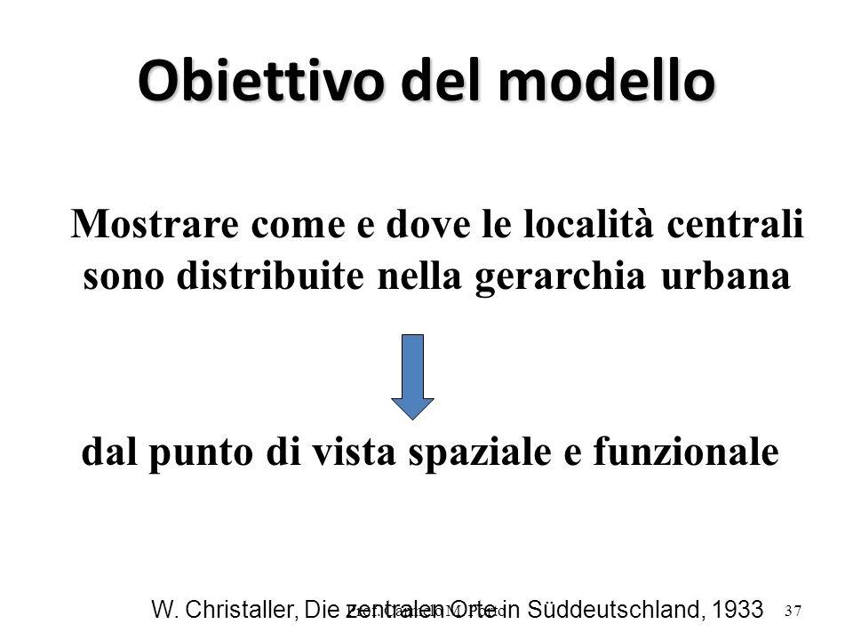 Prof. Carmelo M. Porto37 Obiettivo del modello Mostrare come e dove le località centrali sono distribuite nella gerarchia urbana dal punto di vista sp