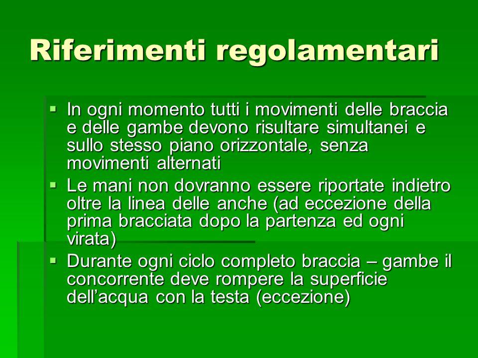 Riferimenti regolamentari In ogni momento tutti i movimenti delle braccia e delle gambe devono risultare simultanei e sullo stesso piano orizzontale,