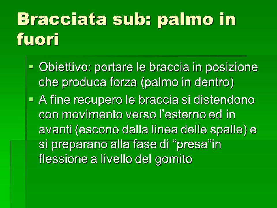 Bracciata sub: palmo in fuori Obiettivo: portare le braccia in posizione che produca forza (palmo in dentro) Obiettivo: portare le braccia in posizion