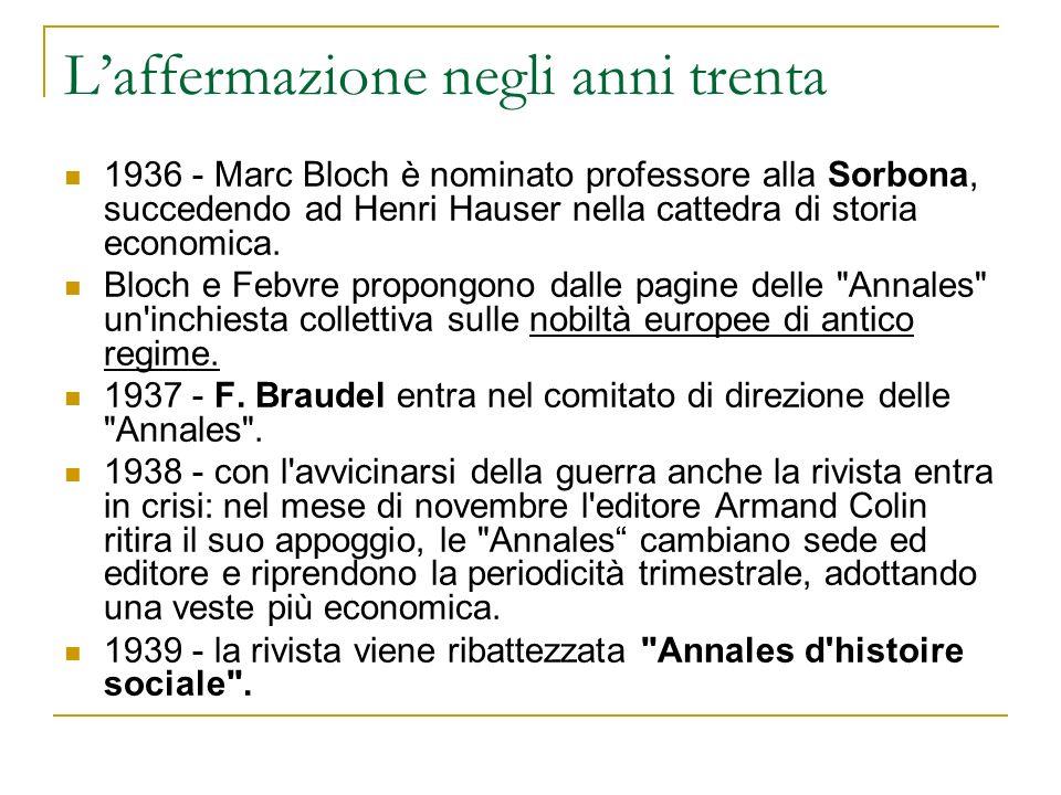 Laffermazione negli anni trenta 1936 - Marc Bloch è nominato professore alla Sorbona, succedendo ad Henri Hauser nella cattedra di storia economica. B