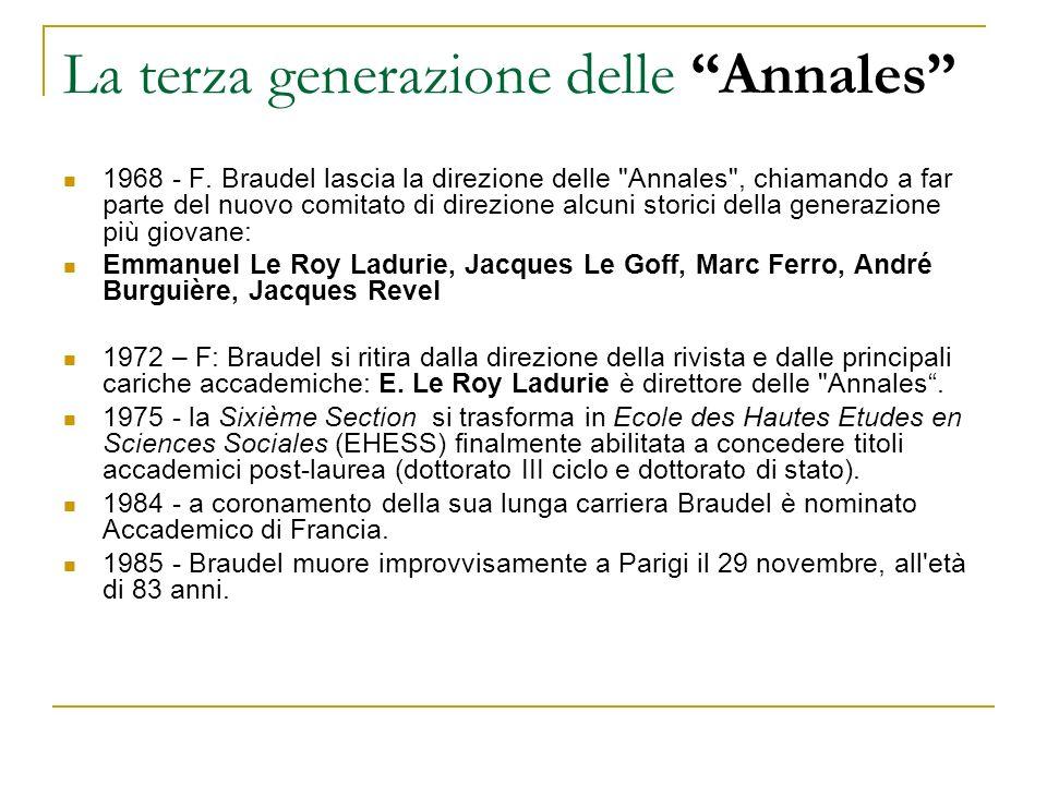 La terza generazione delle Annales 1968 - F. Braudel lascia la direzione delle