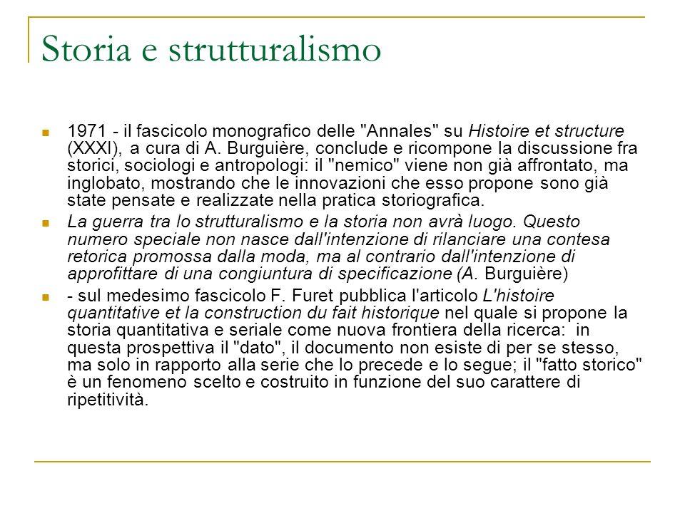 Storia e strutturalismo 1971 - il fascicolo monografico delle