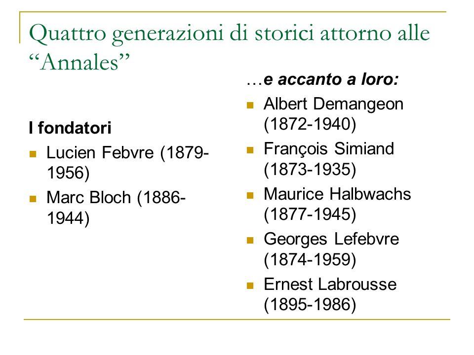 Quattro generazioni di storici attorno alle Annales I fondatori Lucien Febvre (1879- 1956) Marc Bloch (1886- 1944) …e accanto a loro: Albert Demangeon