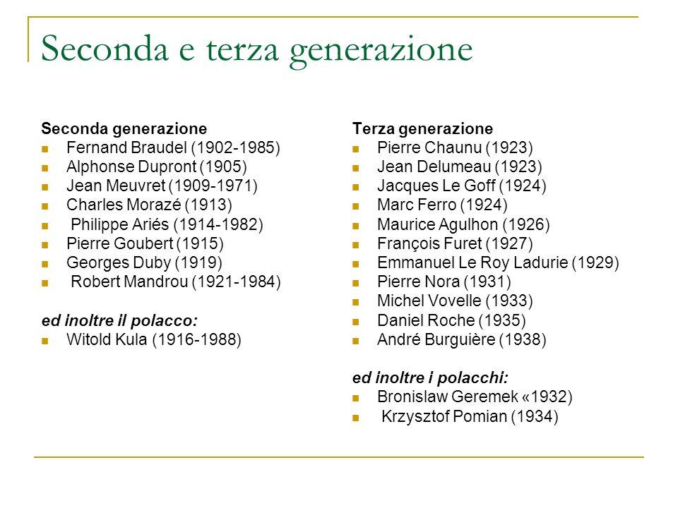 Seconda e terza generazione Seconda generazione Fernand Braudel (1902-1985) Alphonse Dupront (1905) Jean Meuvret (1909-1971) Charles Morazé (1913) Phi