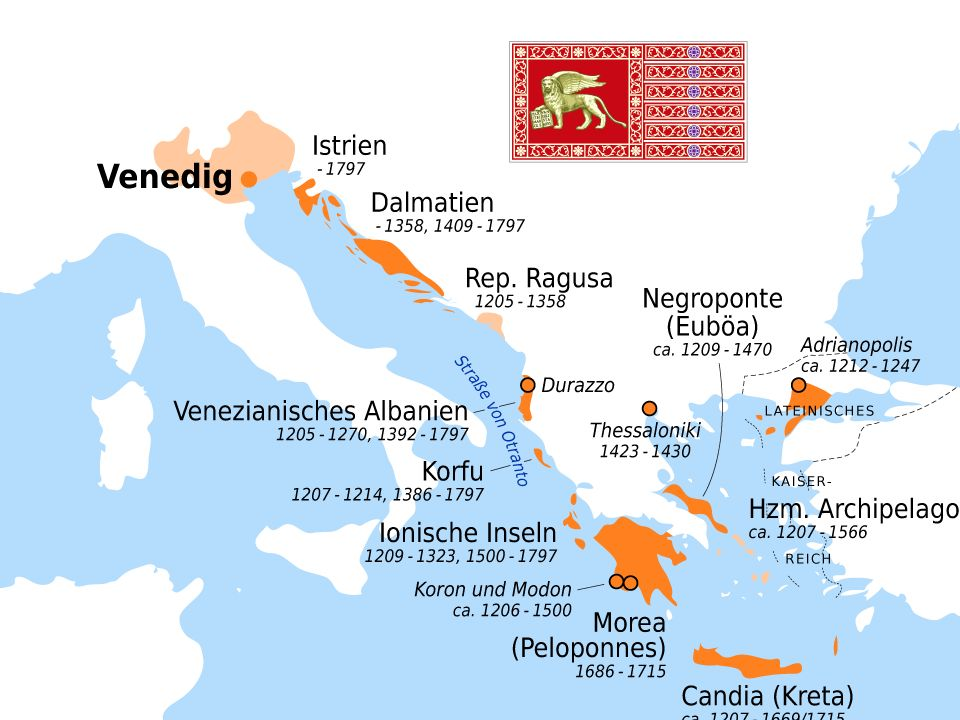 tti questi territori erano poi legati alla madrepatria dall obbligo di omaggio a Venezia e dall impegno a favorirne assolutamente il commercio.