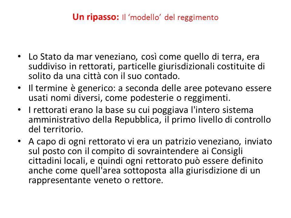 Un ripasso: Il modello del reggimento Lo Stato da mar veneziano, così come quello di terra, era suddiviso in rettorati, particelle giurisdizionali cos