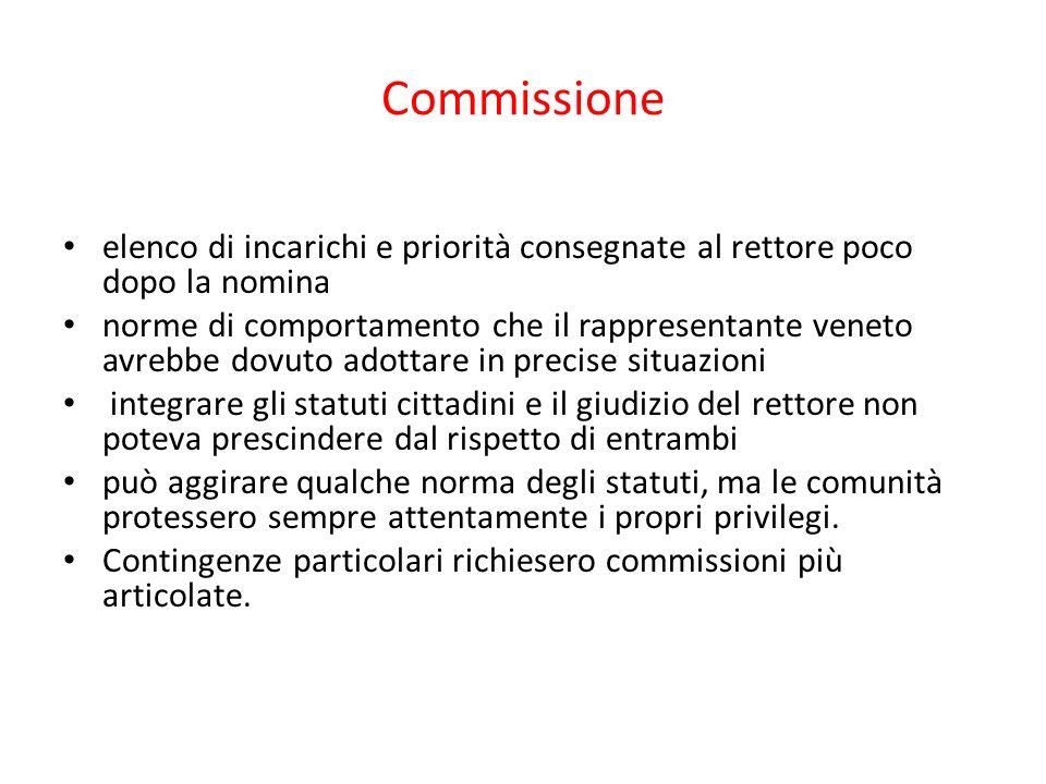 Commissione elenco di incarichi e priorità consegnate al rettore poco dopo la nomina norme di comportamento che il rappresentante veneto avrebbe dovut