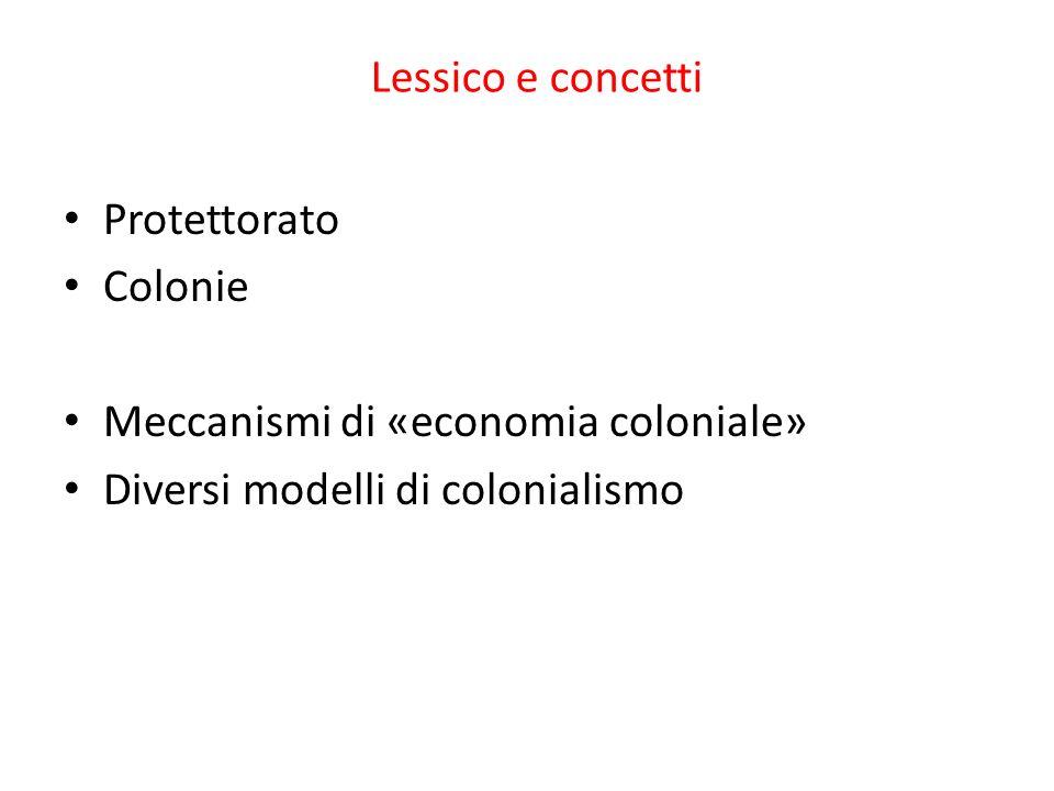 Lessico e concetti Protettorato Colonie Meccanismi di «economia coloniale» Diversi modelli di colonialismo