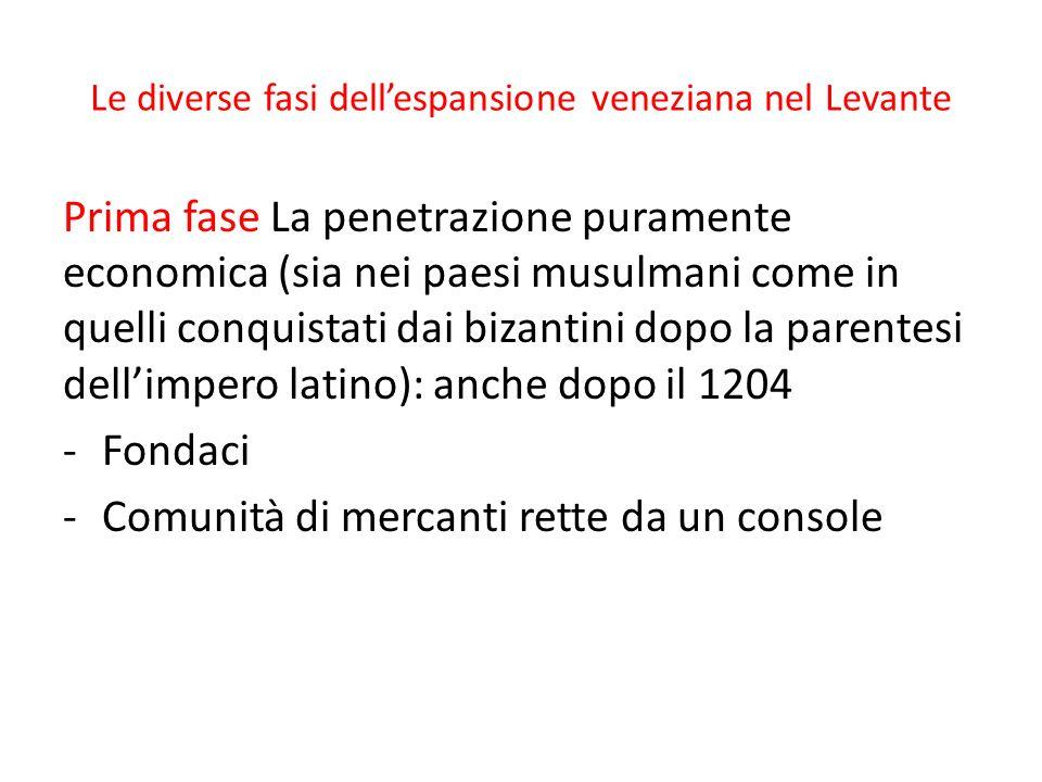 Le diverse fasi dellespansione veneziana nel Levante Prima fase La penetrazione puramente economica (sia nei paesi musulmani come in quelli conquistat