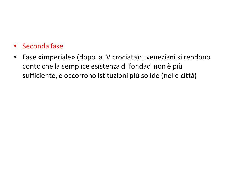 Seconda fase Fase «imperiale» (dopo la IV crociata): i veneziani si rendono conto che la semplice esistenza di fondaci non è più sufficiente, e occorrono istituzioni più solide (nelle città)