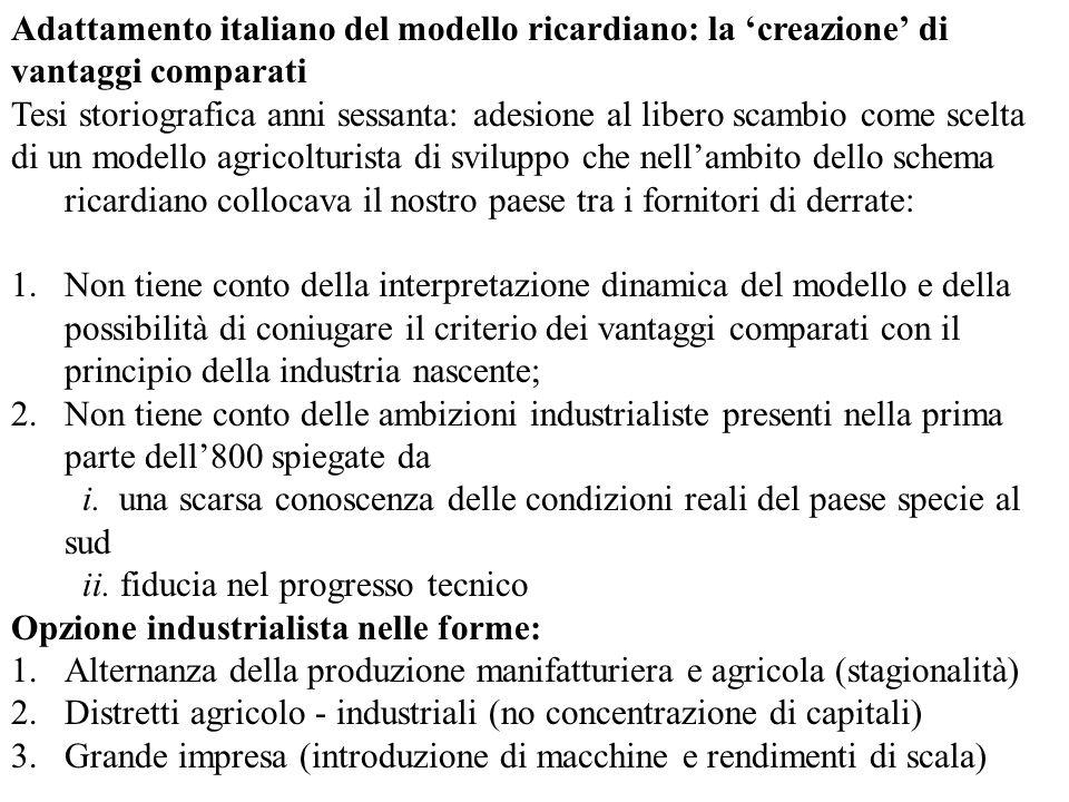 Adattamento italiano del modello ricardiano: la creazione di vantaggi comparati Tesi storiografica anni sessanta: adesione al libero scambio come scelta di un modello agricolturista di sviluppo che nellambito dello schema ricardiano collocava il nostro paese tra i fornitori di derrate: 1.Non tiene conto della interpretazione dinamica del modello e della possibilità di coniugare il criterio dei vantaggi comparati con il principio della industria nascente; 2.Non tiene conto delle ambizioni industrialiste presenti nella prima parte dell800 spiegate da i.