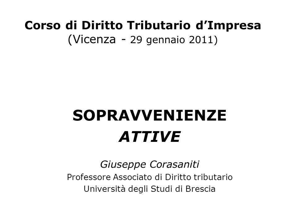 Corso di Diritto Tributario dImpresa (Vicenza - 29 gennaio 2011) SOPRAVVENIENZE ATTIVE Giuseppe Corasaniti Professore Associato di Diritto tributario