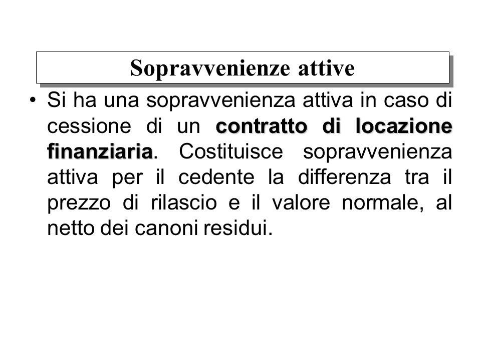 contratto di locazione finanziariaSi ha una sopravvenienza attiva in caso di cessione di un contratto di locazione finanziaria. Costituisce sopravveni