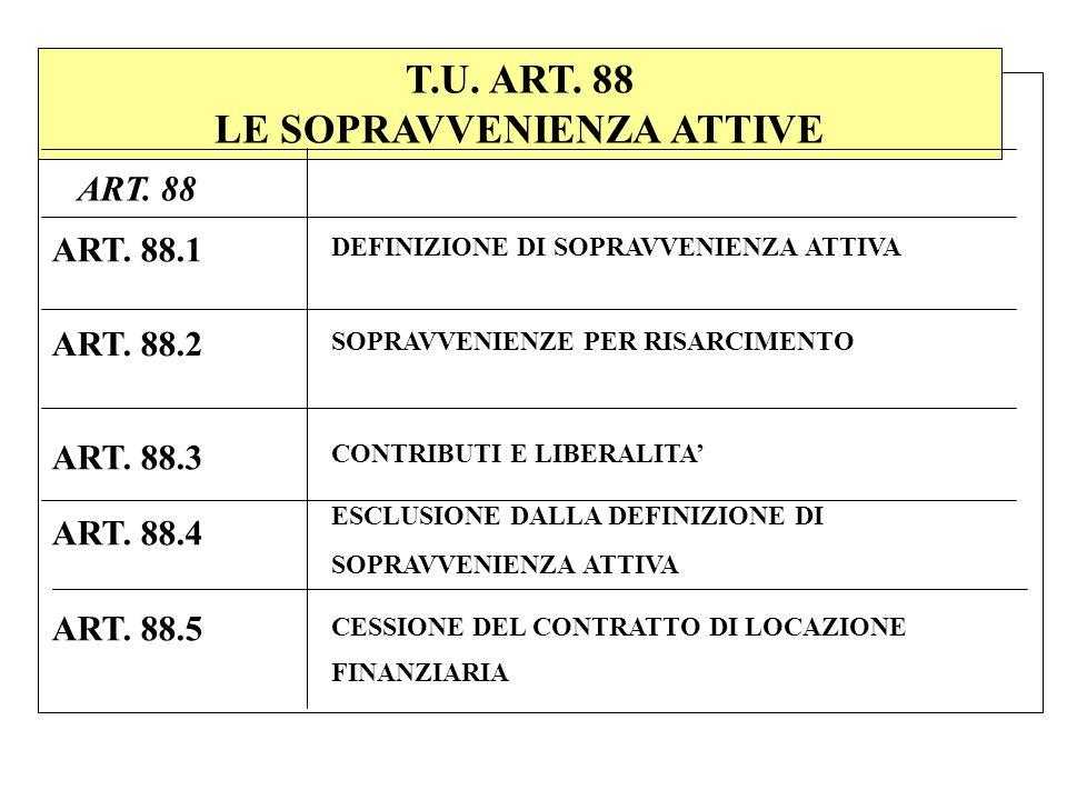 T.U. ART. 88 LE SOPRAVVENIENZA ATTIVE DEFINIZIONE DI SOPRAVVENIENZA ATTIVA ART. 88.1 ART. 88 ART. 88.2 SOPRAVVENIENZE PER RISARCIMENTO ART. 88.5 ESCLU