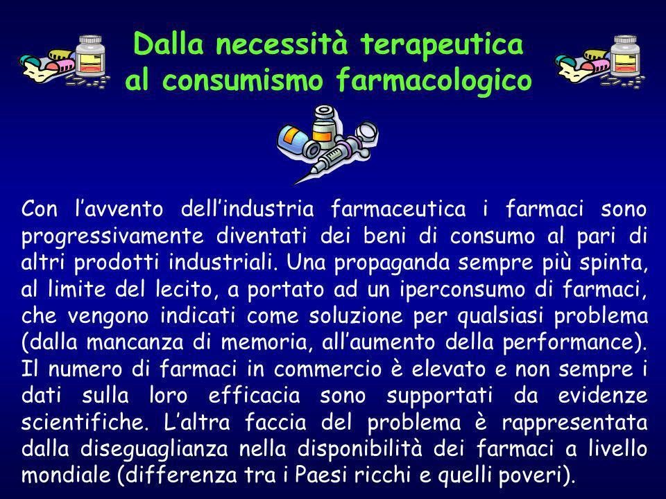 Con lavvento dellindustria farmaceutica i farmaci sono progressivamente diventati dei beni di consumo al pari di altri prodotti industriali. Una propa