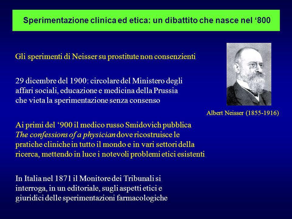 Albert Neisser (1855-1916) Sperimentazione clinica ed etica: un dibattito che nasce nel 800 Gli sperimenti di Neisser su prostitute non consenzienti 2