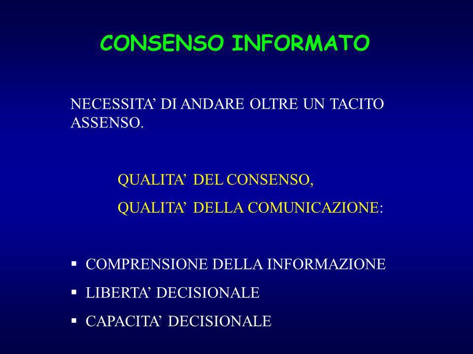 CONSENSO INFORMATO NECESSITA DI ANDARE OLTRE UN TACITO ASSENSO. QUALITA DEL CONSENSO, QUALITA DELLA COMUNICAZIONE: COMPRENSIONE DELLA INFORMAZIONE LIB