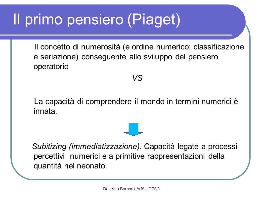 Dott.ssa Barbara Arfé - DPAC Il primo pensiero (Piaget) Il concetto di numerosità (e ordine numerico: classificazione e seriazione) conseguente allo s