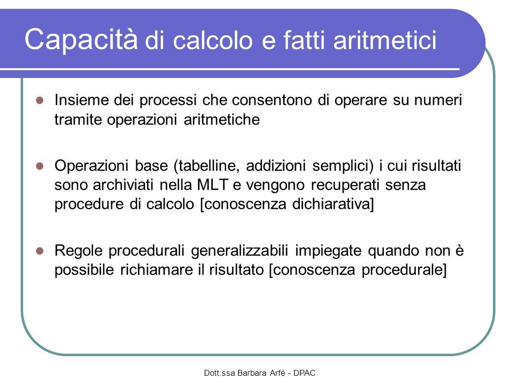 Dott.ssa Barbara Arfé - DPAC Capacità di calcolo e fatti aritmetici Insieme dei processi che consentono di operare su numeri tramite operazioni aritme