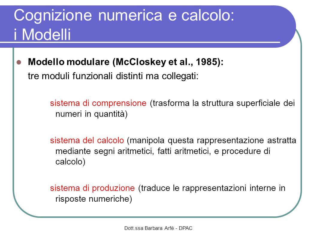 Dott.ssa Barbara Arfé - DPAC Cognizione numerica e calcolo: i Modelli Modello modulare (McCloskey et al., 1985): tre moduli funzionali distinti ma col