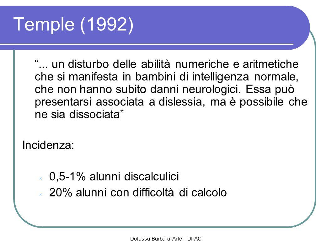Dott.ssa Barbara Arfé - DPAC Biancardi (2002) […] non si considera genericamente tutta la matematica, ma solo le abilità di base: di processamento numerico (lettura, scrittura, enumerazione, numerosità), la conoscenza di alcuni algoritmi di base del calcolo e dei fatti aritmetici