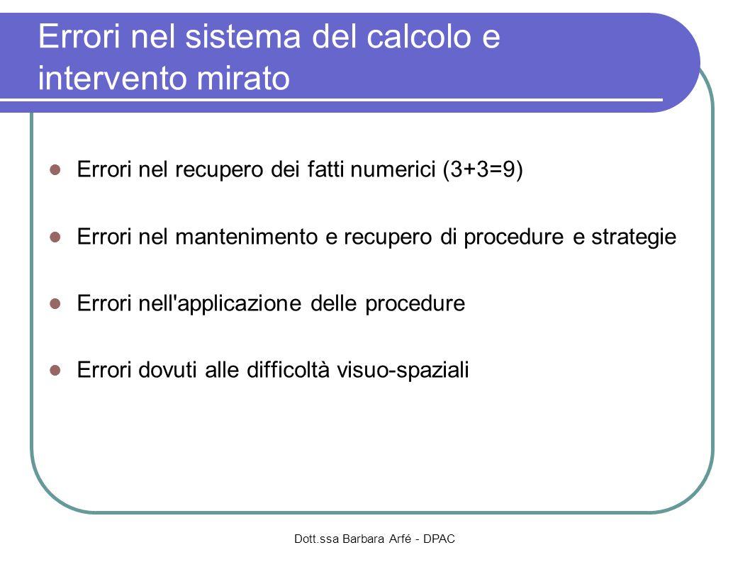 Dott.ssa Barbara Arfé - DPAC Errori nel sistema del calcolo e intervento mirato Errori nel recupero dei fatti numerici (3+3=9) Errori nel mantenimento
