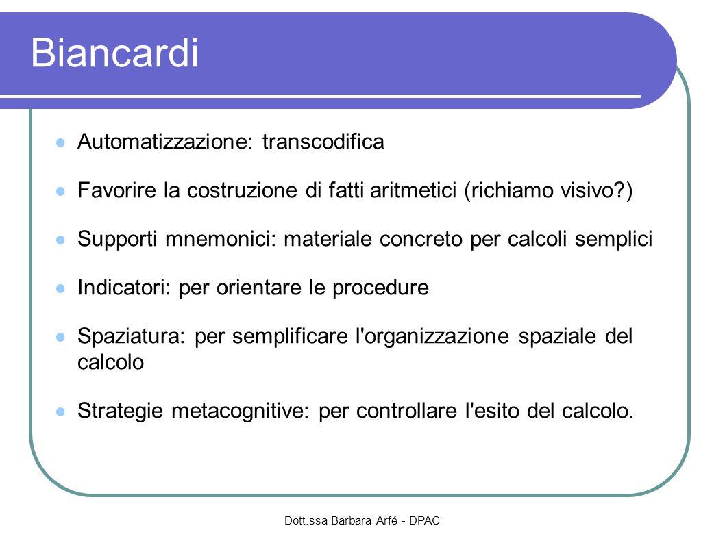 Dott.ssa Barbara Arfé - DPAC Biancardi Automatizzazione: transcodifica Favorire la costruzione di fatti aritmetici (richiamo visivo?) Supporti mnemoni