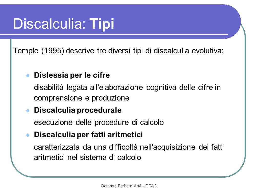 Dott.ssa Barbara Arfé - DPAC Discalculia: Tipi Temple (1995) descrive tre diversi tipi di discalculia evolutiva: Dislessia per le cifre disabilità leg