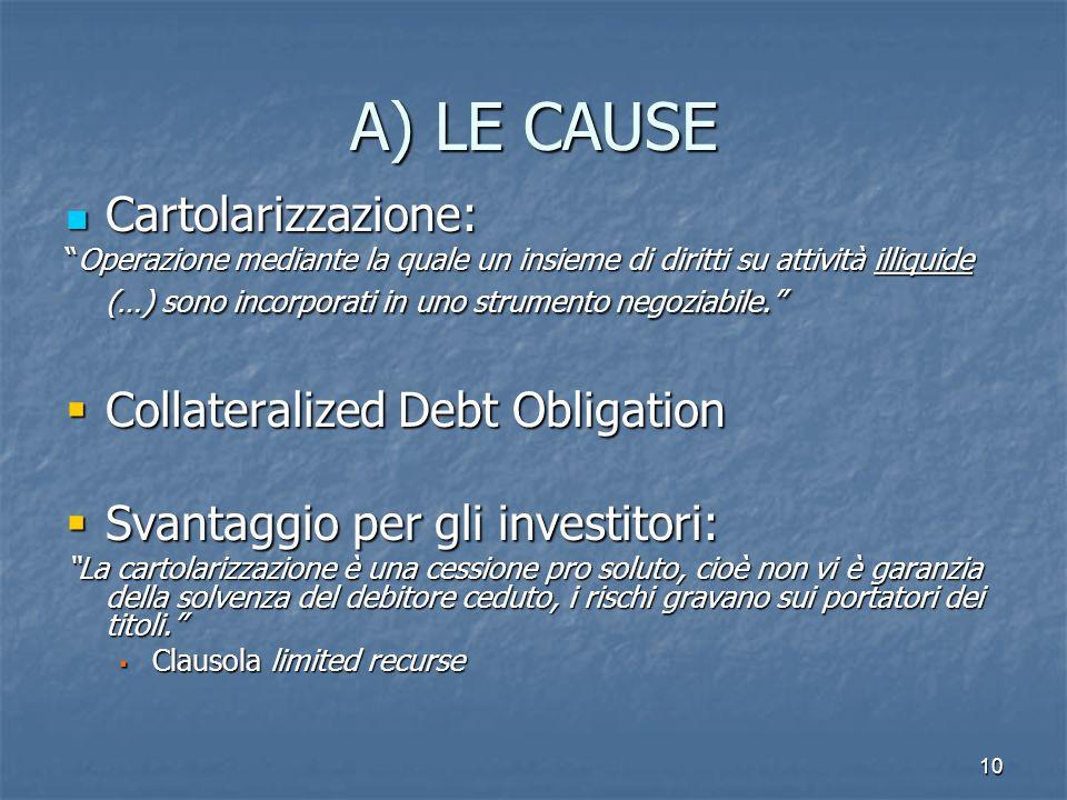 10 A) LE CAUSE Cartolarizzazione: Cartolarizzazione: Operazione mediante la quale un insieme di diritti su attività illiquide (…) sono incorporati in