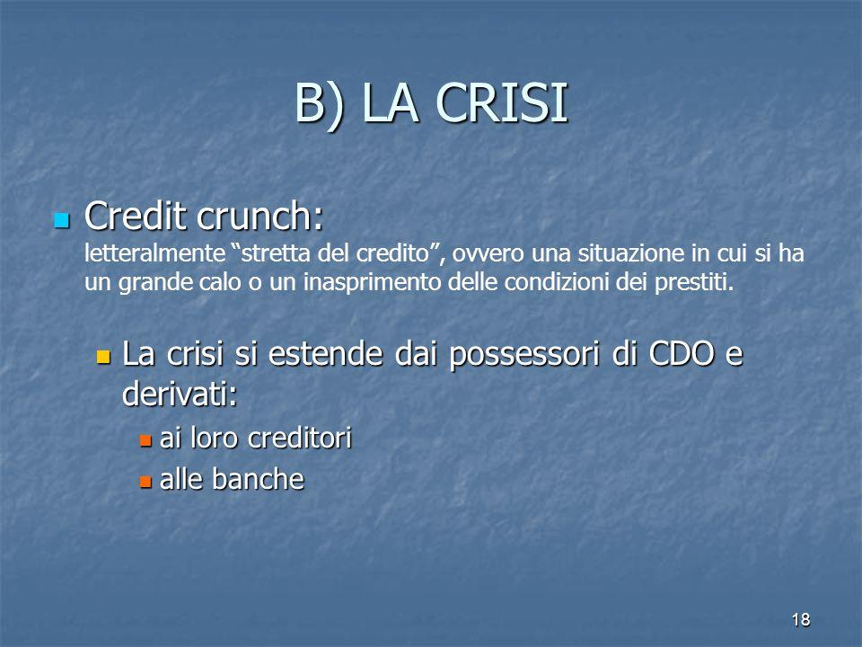 18 B) LA CRISI Credit crunch: Credit crunch: letteralmente stretta del credito, ovvero una situazione in cui si ha un grande calo o un inasprimento de