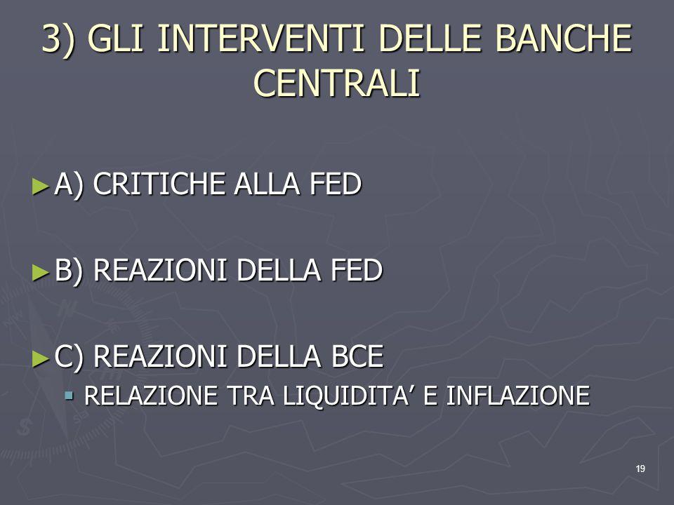 19 3) GLI INTERVENTI DELLE BANCHE CENTRALI A) CRITICHE ALLA FED A) CRITICHE ALLA FED B) REAZIONI DELLA FED B) REAZIONI DELLA FED C) REAZIONI DELLA BCE