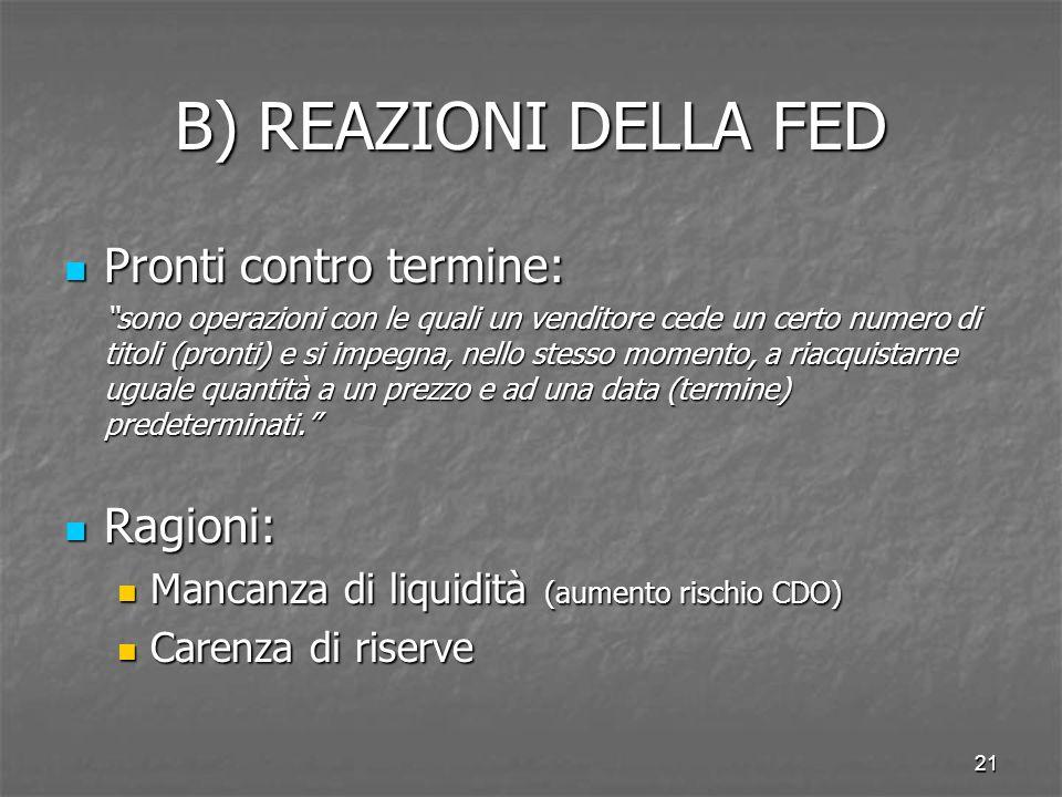 21 B) REAZIONI DELLA FED Pronti contro termine: Pronti contro termine: sono operazioni con le quali un venditore cede un certo numero di titoli (pront