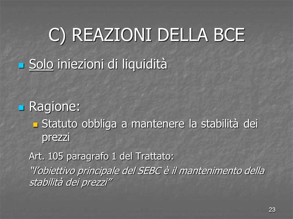 23 C) REAZIONI DELLA BCE Solo iniezioni di liquidità Solo iniezioni di liquidità Ragione: Ragione: Statuto obbliga a mantenere la stabilità dei prezzi