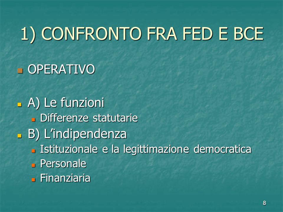 8 1) CONFRONTO FRA FED E BCE OPERATIVO OPERATIVO A) Le funzioni A) Le funzioni Differenze statutarie Differenze statutarie B) Lindipendenza B) Lindipe