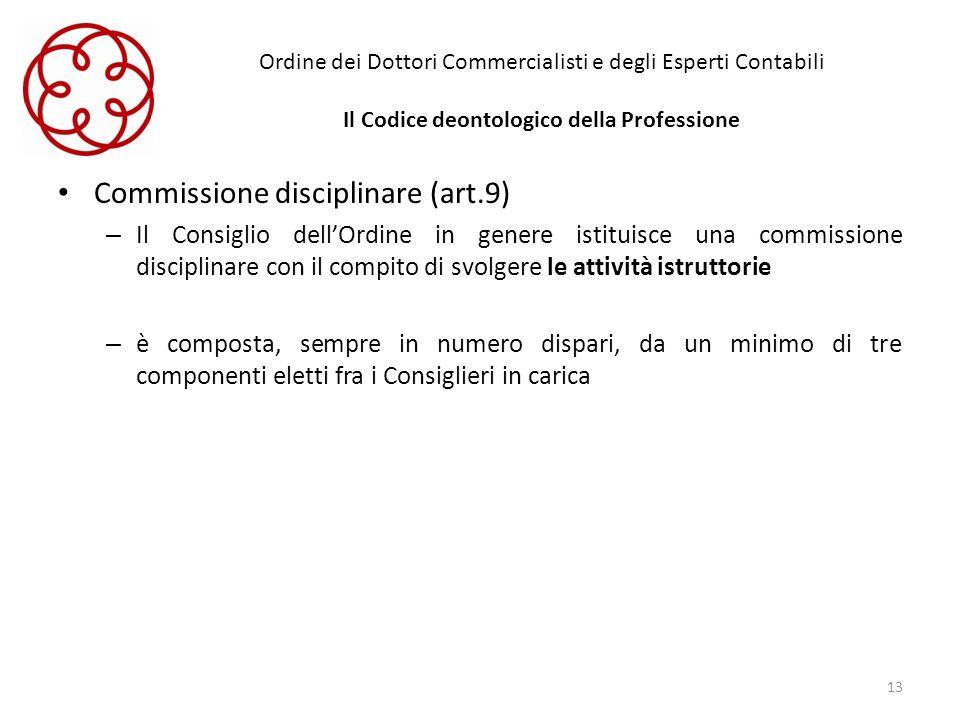 Ordine dei Dottori Commercialisti e degli Esperti Contabili Il Codice deontologico della Professione Commissione disciplinare (art.9) – Il Consiglio d